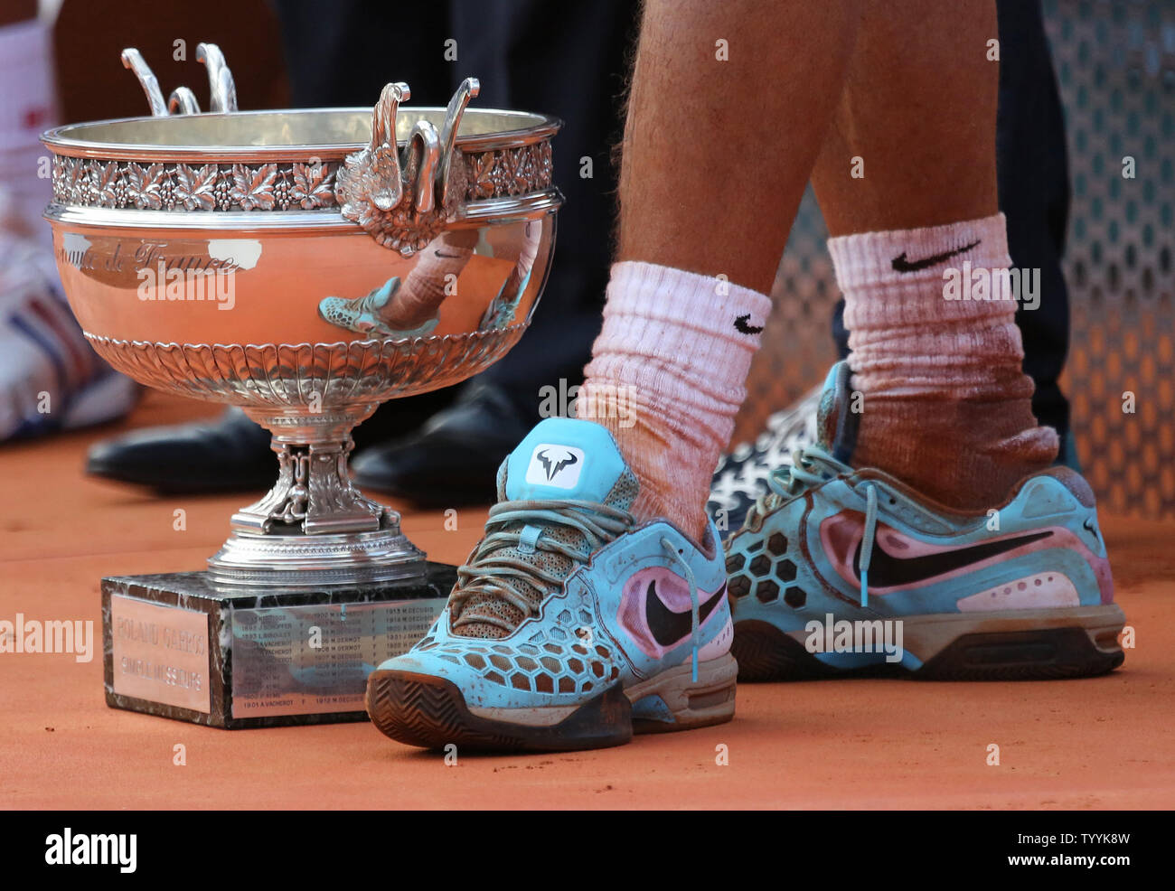 The Shoes And Trophy Of Rafael Nadal Of Spain Are Seen After His French Open Men S Final Match Against Novak Djokovic Of Serbia At Roland Garros In Paris On June 8 2014