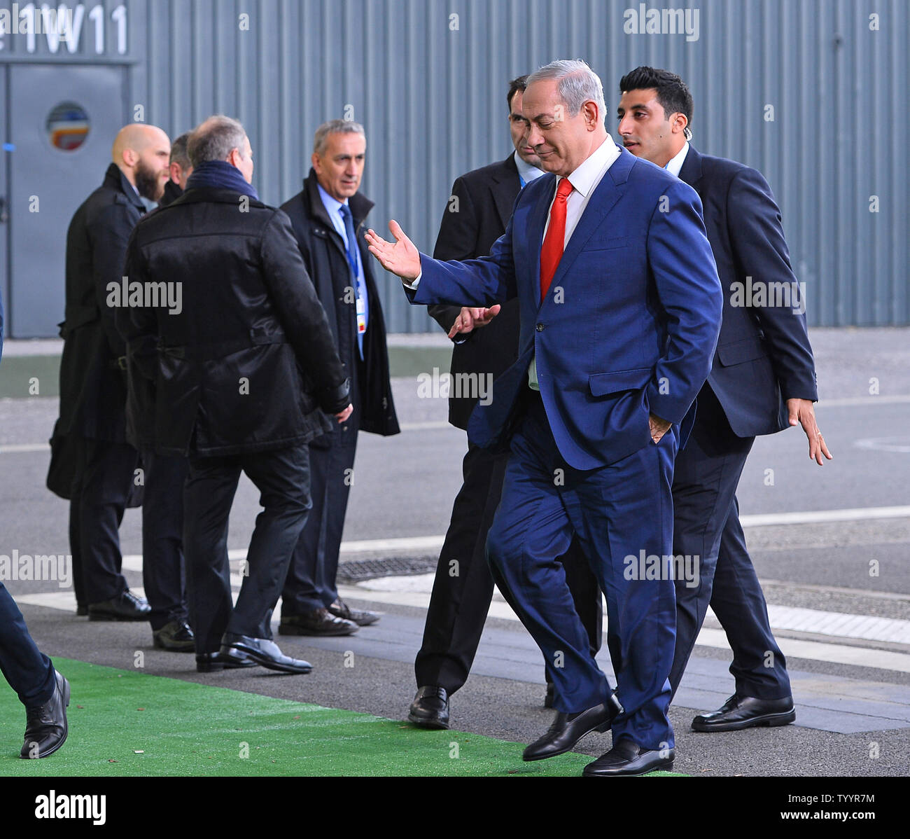 Israeli Prime Minister Benjamin Netanyahu arrives at the United Nation's 21st climate change conference at Le Bourget near Paris on November 30, 2015. The almost 150 heads of state and representatives from 200 countries in attendance will attempt to negotiate a legally binding agreement to limit worldwide carbon emissions with the goal of keeping global warming under 2 degrees Celsius.   Photo by David Silpa/UPI - Stock Image