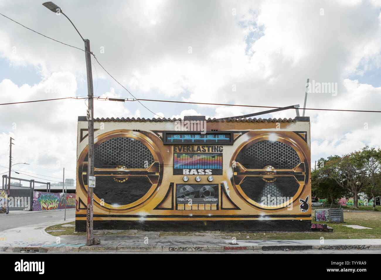 Street Art depicting a boom box stereo on the wall of an abandoned building in the Wynwood area of Miami, Florida Stock Photo