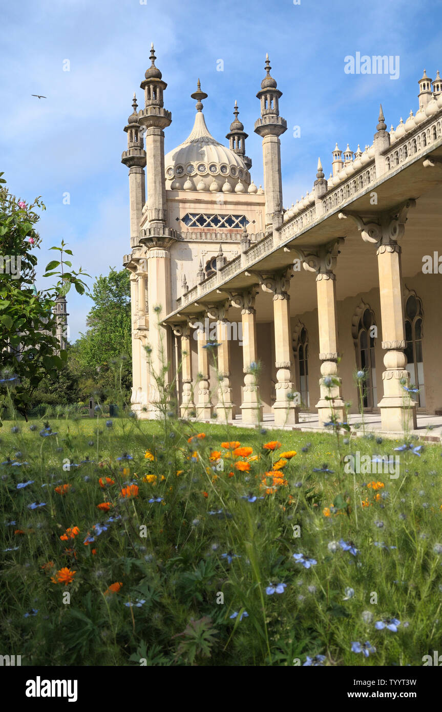 Brighton Pavilion inside the grounds of the Royal Pavilion Garden, Brighton and Hove, East Sussex, England, UK - Stock Image