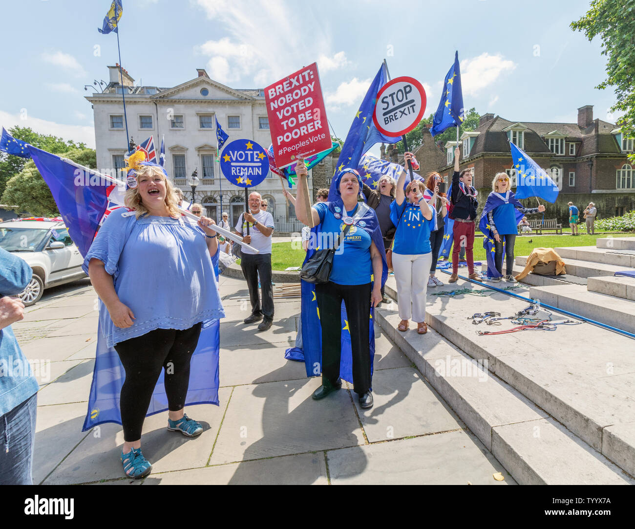 London / UK - June 26th 2019 - Pro-EU anti-Brexit protesters holding European Union flags and stop Brexit signs opposite Parliament in Westminster - Stock Image