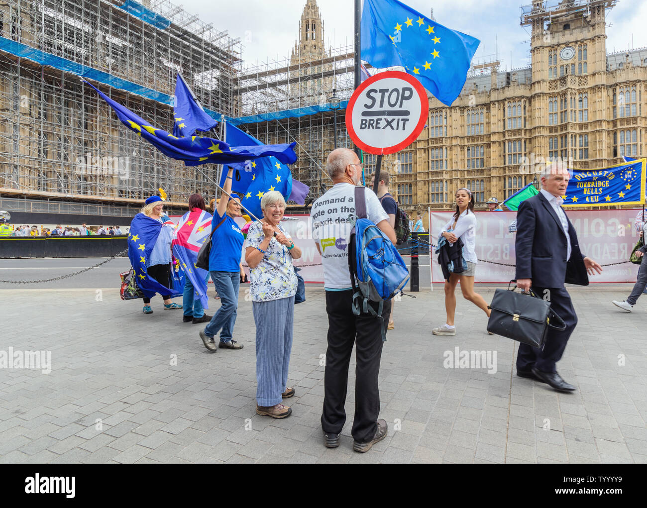 London / UK - June 26th 2019 - Pro-EU anti-Brexit protesters holding Stop Brexit signs and European union flags at a demonstration outside Parliament - Stock Image