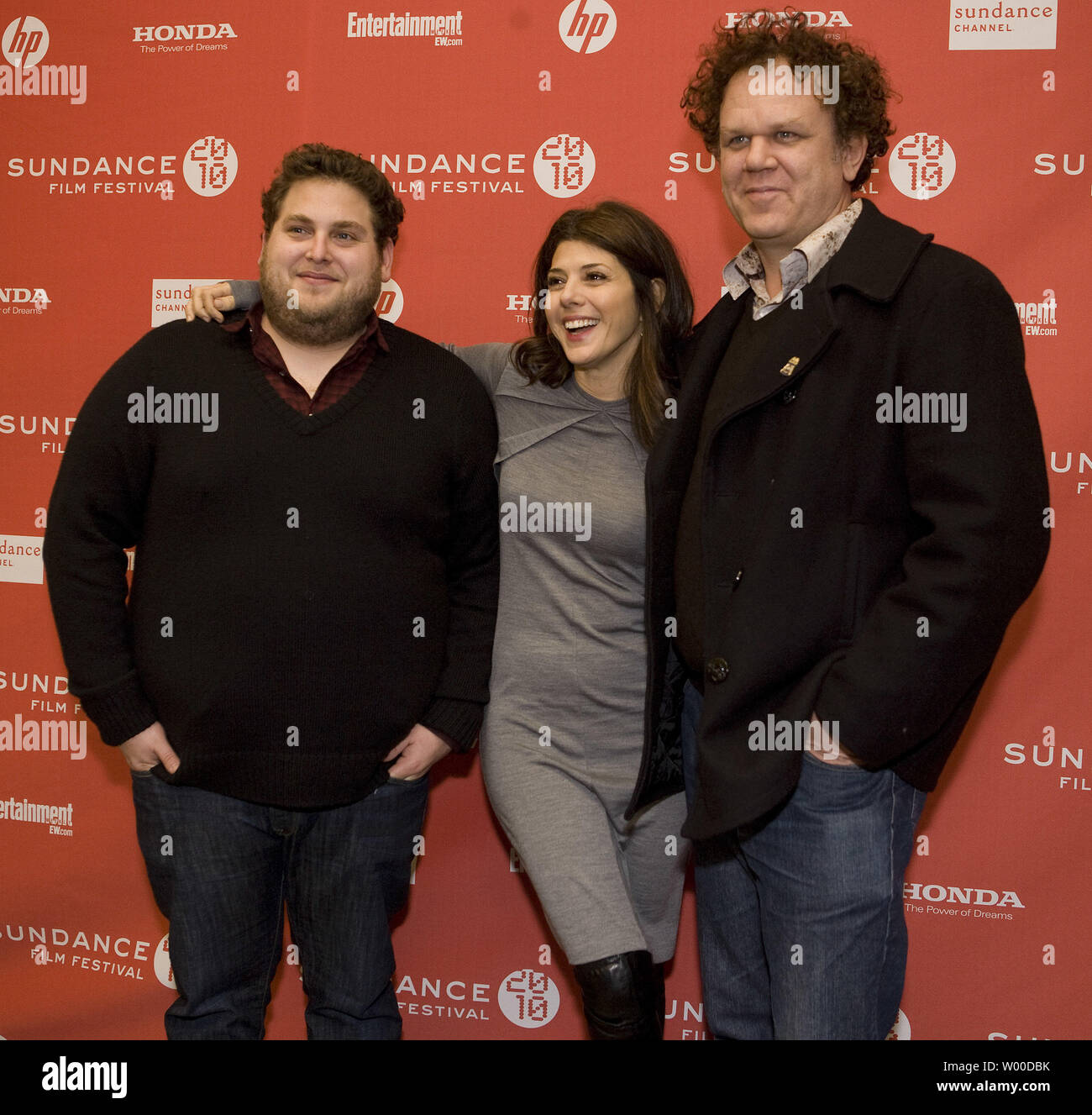 (L-R) Johnah Hill, Marisa Tomei, and John C. Reilly arrive for the world premiere of  'Cyrus' at the 2010 Sundance Film Festival on January 23, 2010 in Park City, Utah.         UPI/Gary C. Caskey.. - Stock Image