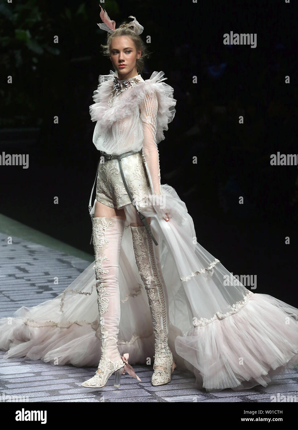European Models Wear Dresses From The Jusere Bridal Collection Made By Chinese Fashion Designer Yu Aiping During China Fashion Week Being Held In Beijing On March 28 2017 Chinese Fashion Designers Are