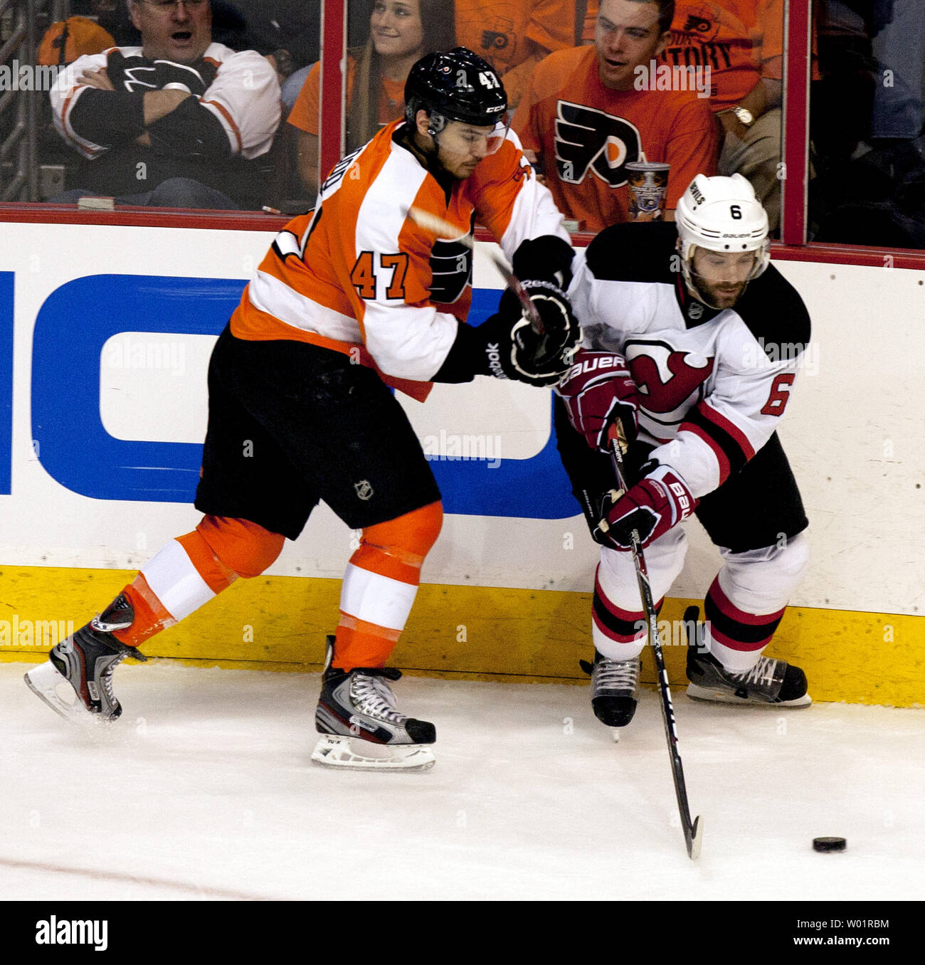 check out 9d6af 200f1 Philadelphia Flyers Eric Wellwood (47) battles with New ...
