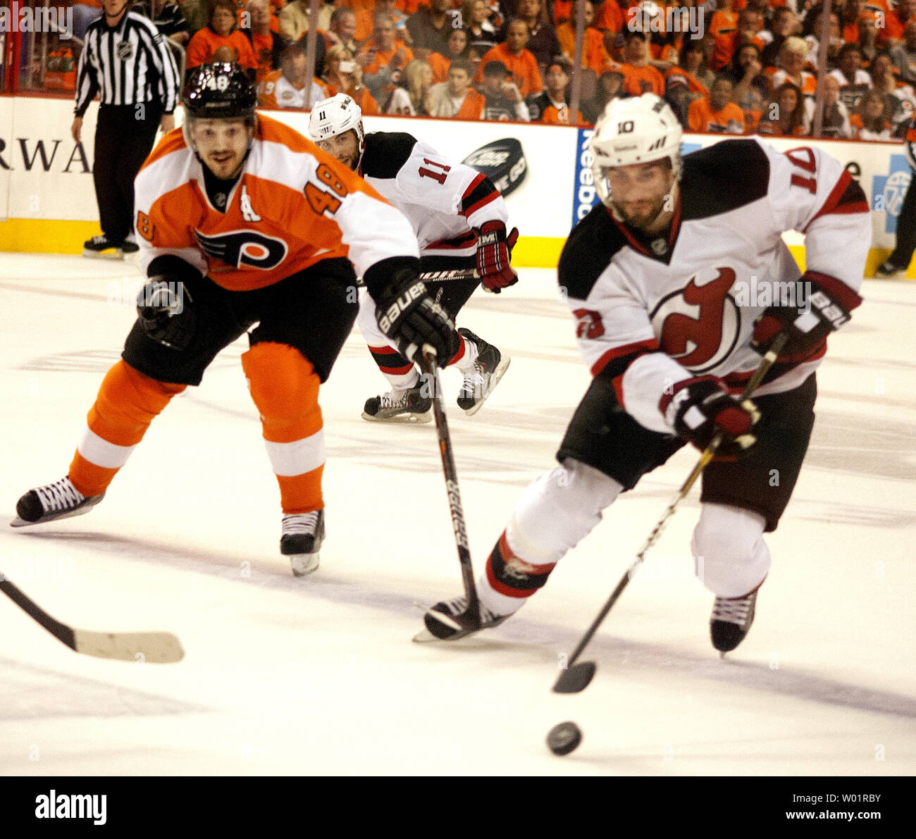 hot sale online e1b1a af0c0 New Jersey Devils Peter Harrold controls the puck during ...