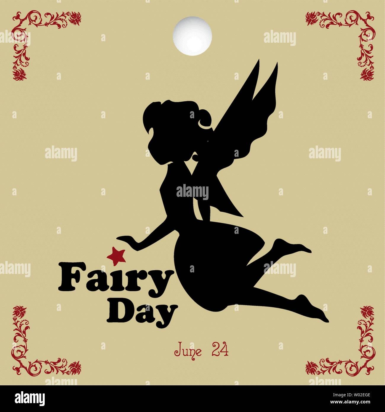 A popular day - Fairy Day. Calendar date in june - Stock Vector