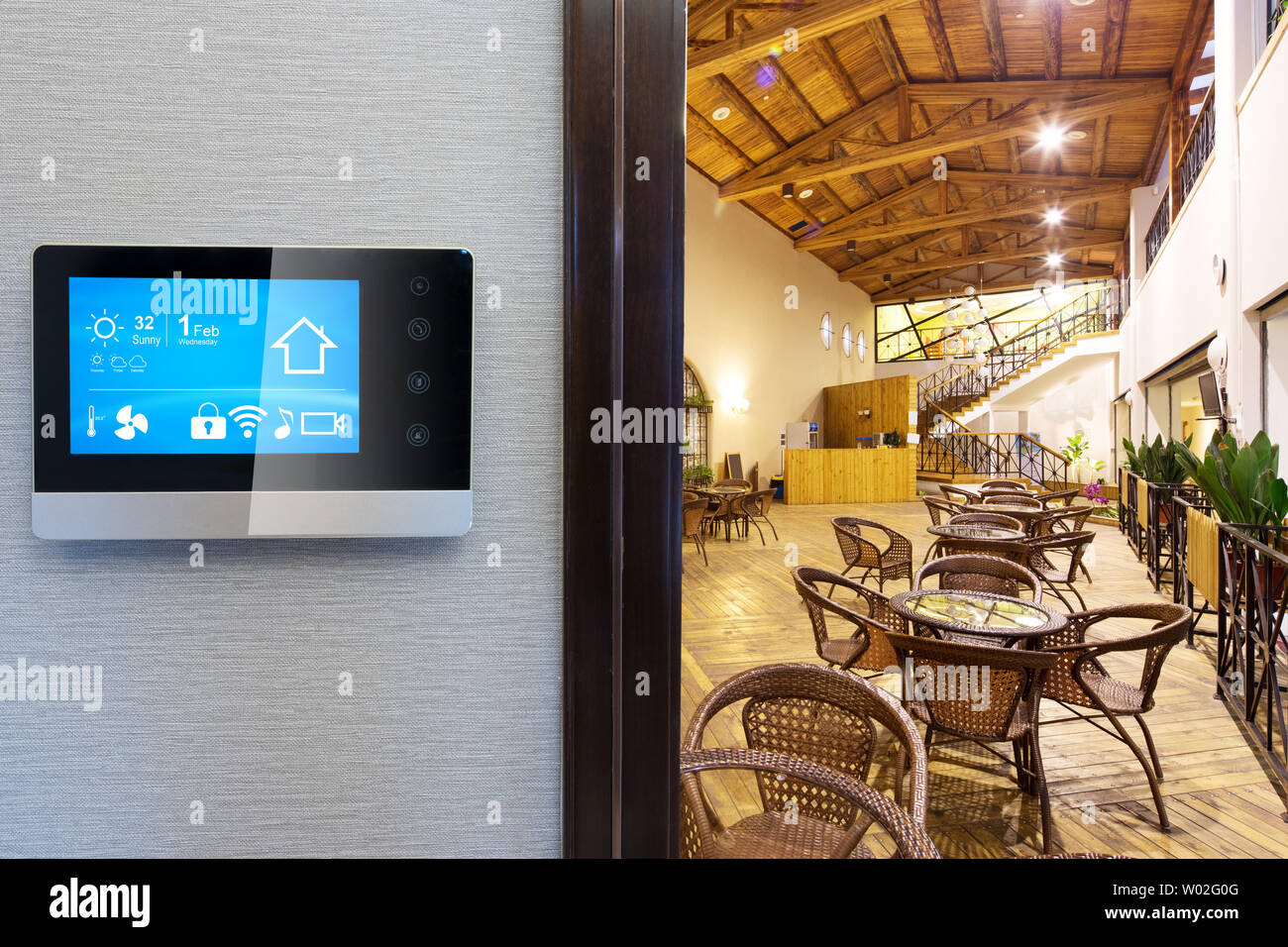 Smart Screen With Smart Home And Modern Coffee Bar In Gym