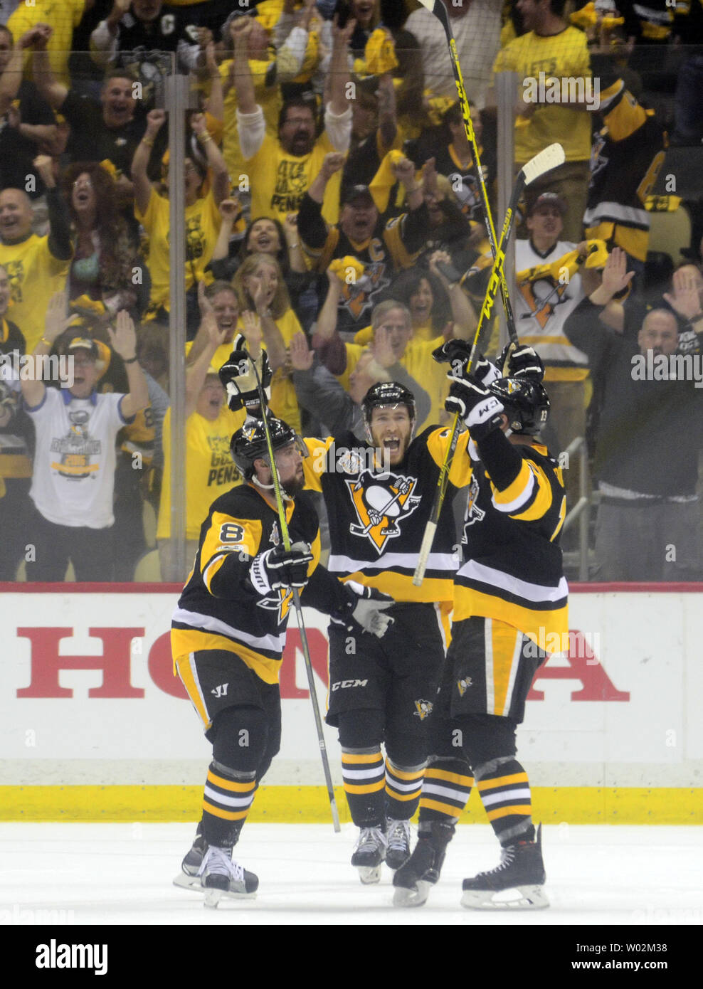 official photos 44186 50ad6 Pittsburgh Penguins right wing Carter Rowney (37) celebrates ...