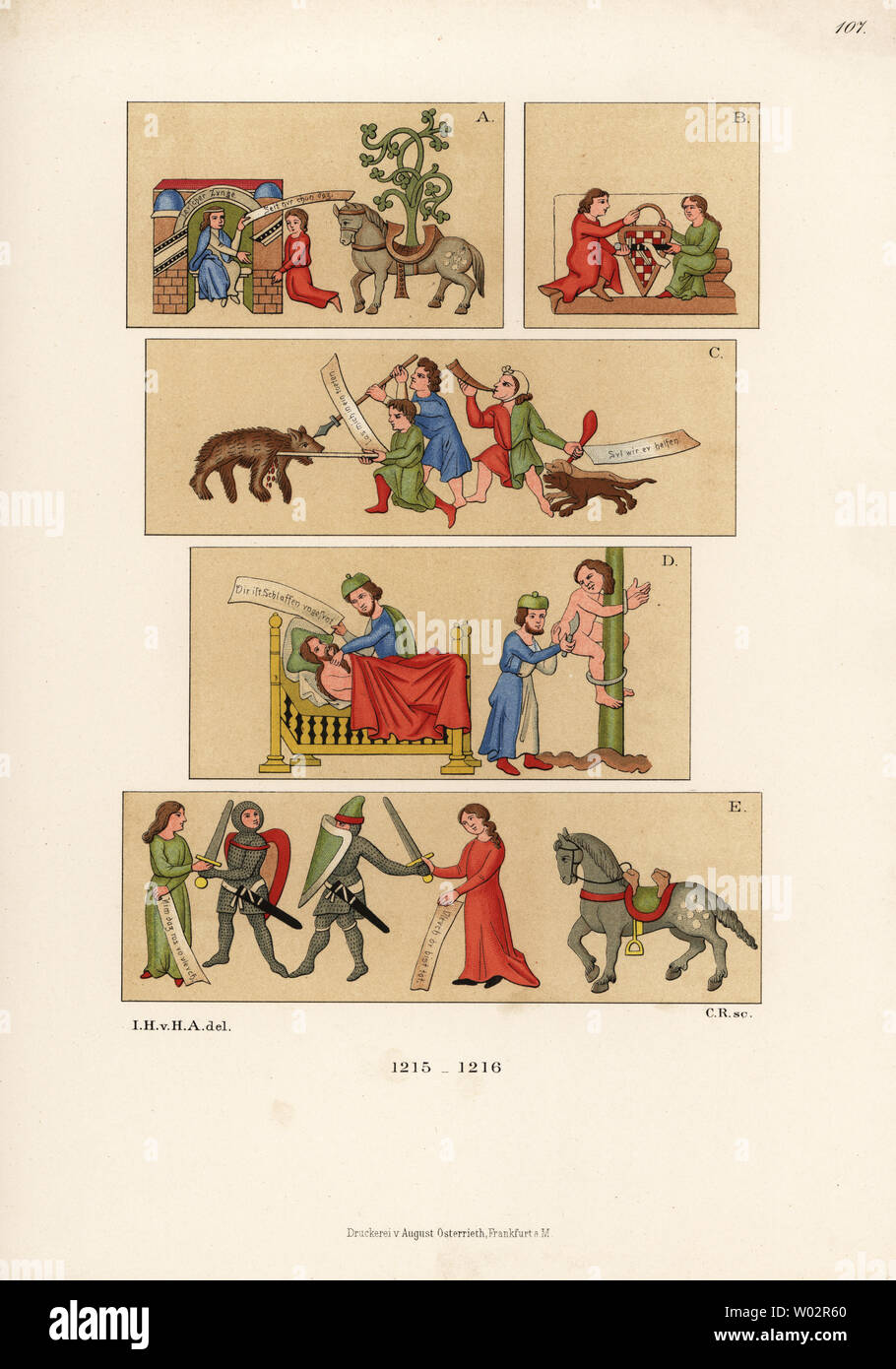 Costumes from the early 13th century. From a manuscript of Thomasin von Zirclaere's Der Walsche Gast. Symbolic scenes of a couple (German youth) with horse and tree A, Cicero and Rhetorica B, boar hunting C, allegorical scene of a doctor (God) and man D, and young knights arguing E. Chromolithograph from Hefner-Alteneck's Costumes, Artworks and Appliances from the Middle Ages to the 17th Century, Frankfurt, 1889. Illustration by Dr. Jakob Heinrich von Hefner-Alteneck, lithographed by C.R. Dr. Hefner-Alteneck (1811 - 1903) was a German museum curator, archaeologist, art historian, illustrator a - Stock Image