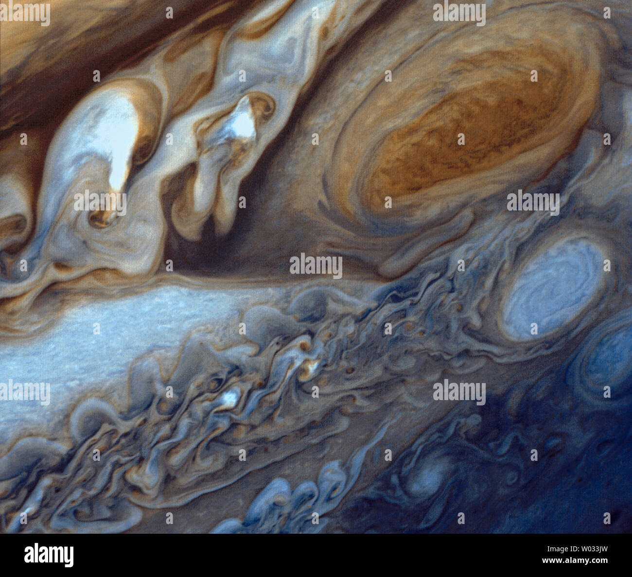 Jupiter's Great Red Spot is viewed by the Voyager I spacecraft on March 5, 1979.  The images was re-processed in 1998, and re-released on March 20, 2014.   The Great Red Spot is a raging storm three and a half times the size of Earth located in JupiterÕs southern hemisphere. The unique photos and observations by Voyager I are still being explore to this day.   UPI/NASA .. Stock Photo