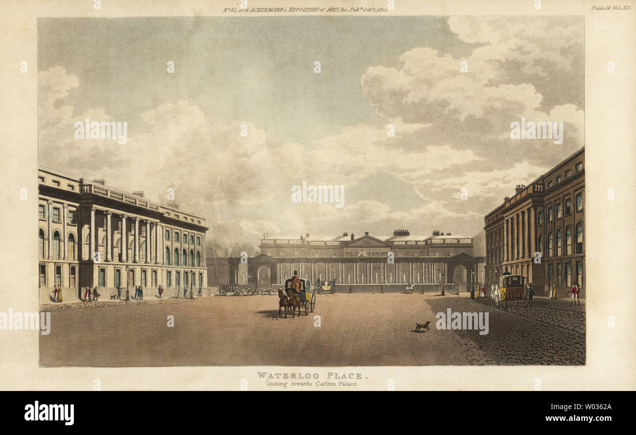 View of Waterloo Place, looking toward Carlton Palace. Hackney cab in center. Handcoloured copperplate engraving from Rudolph Ackermann's Repository of Arts, London, 1812. - Stock Image