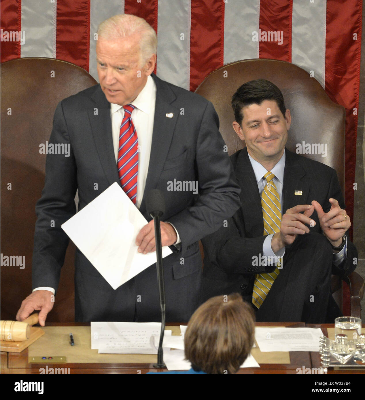 Speaker Paul Ryan (R-WI), (R), gestures during the vote counting for Wisconsin as Vice President Joe Biden presides over the procedure to count and validate the votes of the Electoral College on the floor of the House at the U.S. Capitol, on January 6, 2017, in Washington, D.C. The procedure, established by the Constitution, finalized Donald J. Trump and Mike Pence as the president and vice president. Photo by Mike Theiler/UPI - Stock Image
