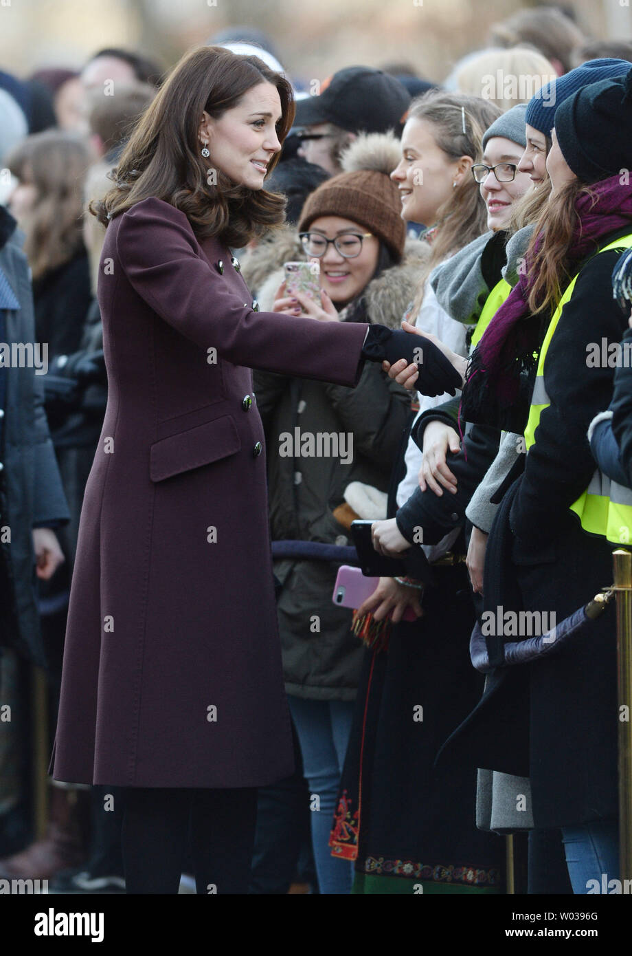 Catherine, Duchess of Cambridge, visits the Hartvig Nissen School as she and her husband Prince William, Duke of Cambridge, embark on a Royal tour of Oslo on February 2, 2018. Photo by Rune Hellestad/UPI - Stock Image