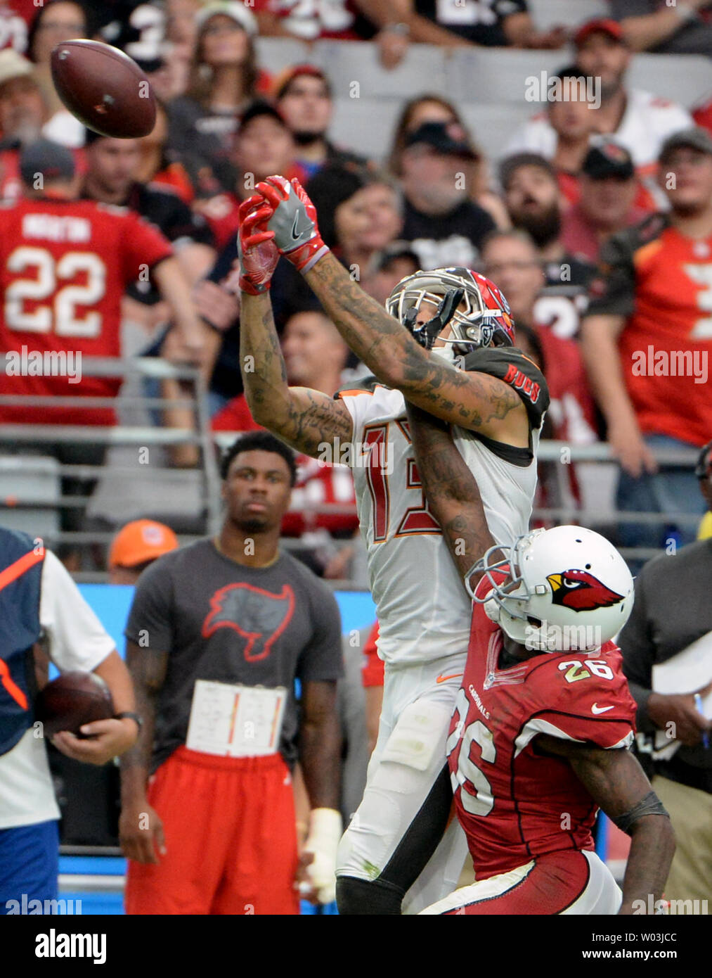 Tampa Bay Buccaneers' Mike Evans (L)  can't make the catch in the fourth quarter of the Buccaneers-Arizona Cardinals game at University of Phoenix Stadium in Glendale, Arizona, September 18, 2016. The Cardinals defeated the Buccaneers 40-7. Photo by Art Foxall/UPI Stock Photo