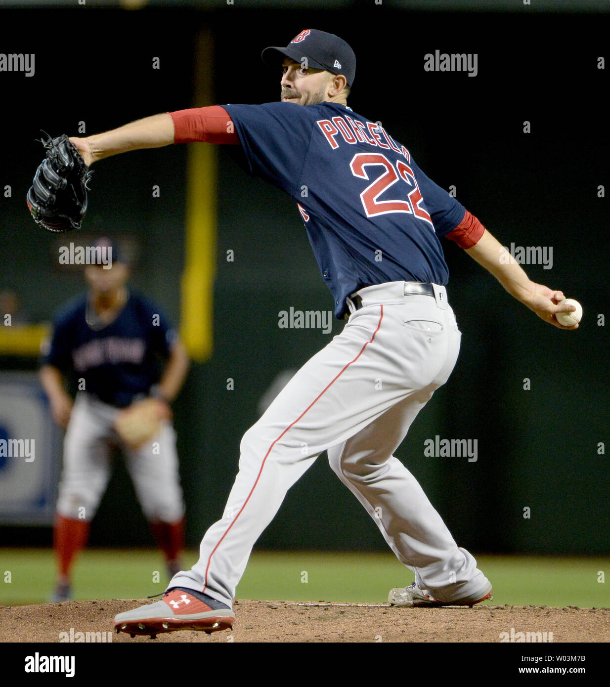 Boston Red Sox' starting pitcher Rick Porcello delivers a pitch to an Arizona Diamondbacks batter in the fourth inning at Chase Field in Phoenix, Arizona on April 5, 2019.  The Diamondbacks defeated the Red Sox 15-8.  Photo by Art Foxall/UPI Stock Photo