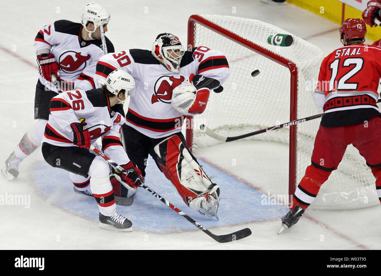 Carolina Hurricanes Eric Staal 12 Directs The Puck Past New