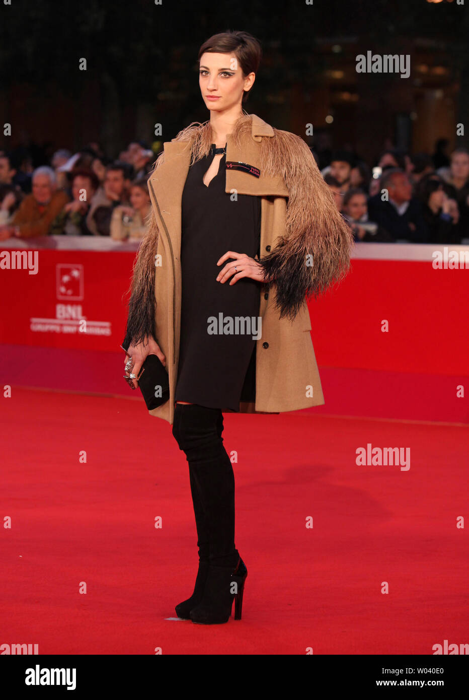 Francesca Inaudi arrives on the red carpet before the screening of a digitally restored version of the 1960 classic film 'La Dolce Vita' during the 5th Rome International Film Festival in Rome on October 30, 2010.   UPI/David Silpa - Stock Image