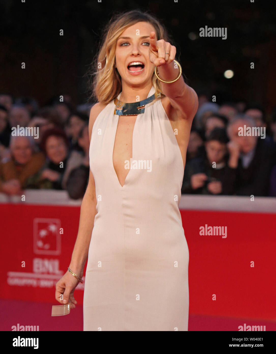 Myriam Catania arrives on the red carpet before the screening of a digitally restored version of the 1960 classic film 'La Dolce Vita' during the 5th Rome International Film Festival in Rome on October 30, 2010.   UPI/David Silpa - Stock Image