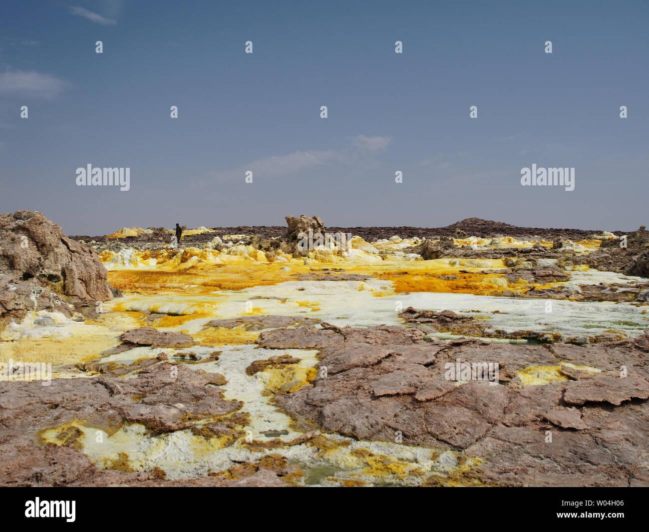 Dallol vulcano sulphur hot springs Stock Photo