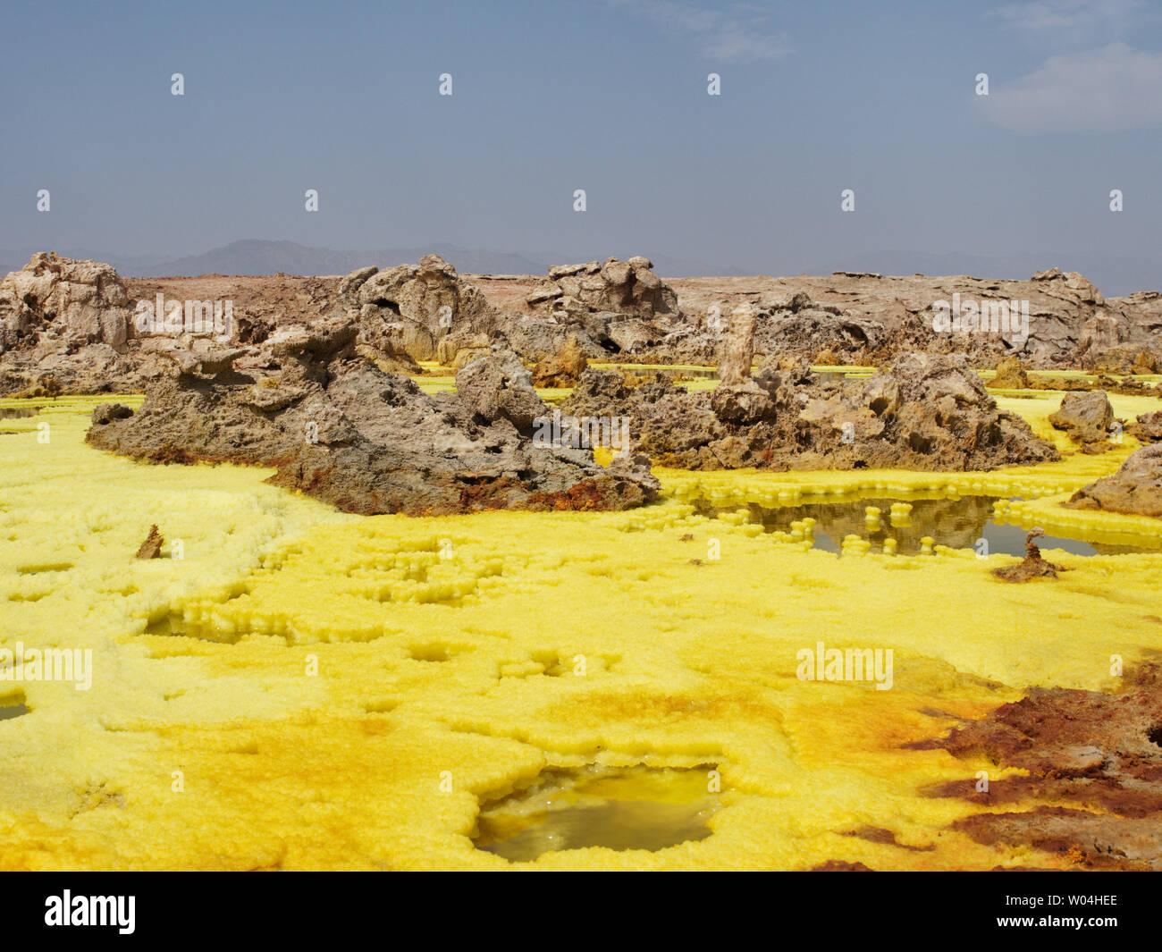 Dallol vulcano sulphur hot springs - Stock Image
