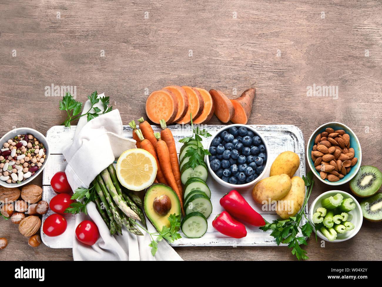 Best High Alkaline Foods.  Vegan, alkaline diet concept. Top view with copy space Stock Photo