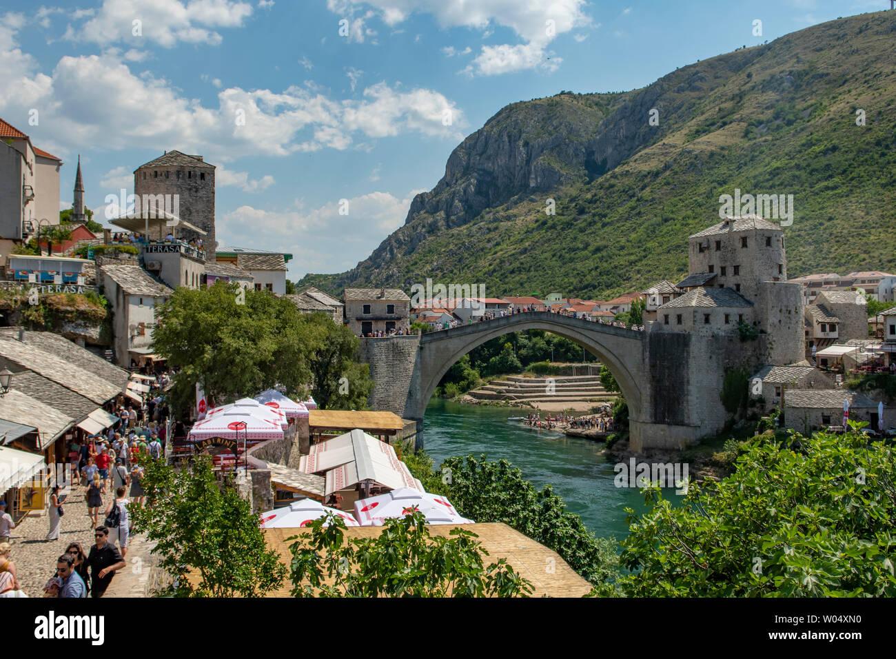 Stari Most, Old Bridge, Mostar, Bosnia-Herzegovina - Stock Image