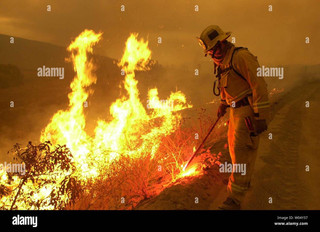 Chula Vista Fire Department Firefighter Dustin Dauber sets