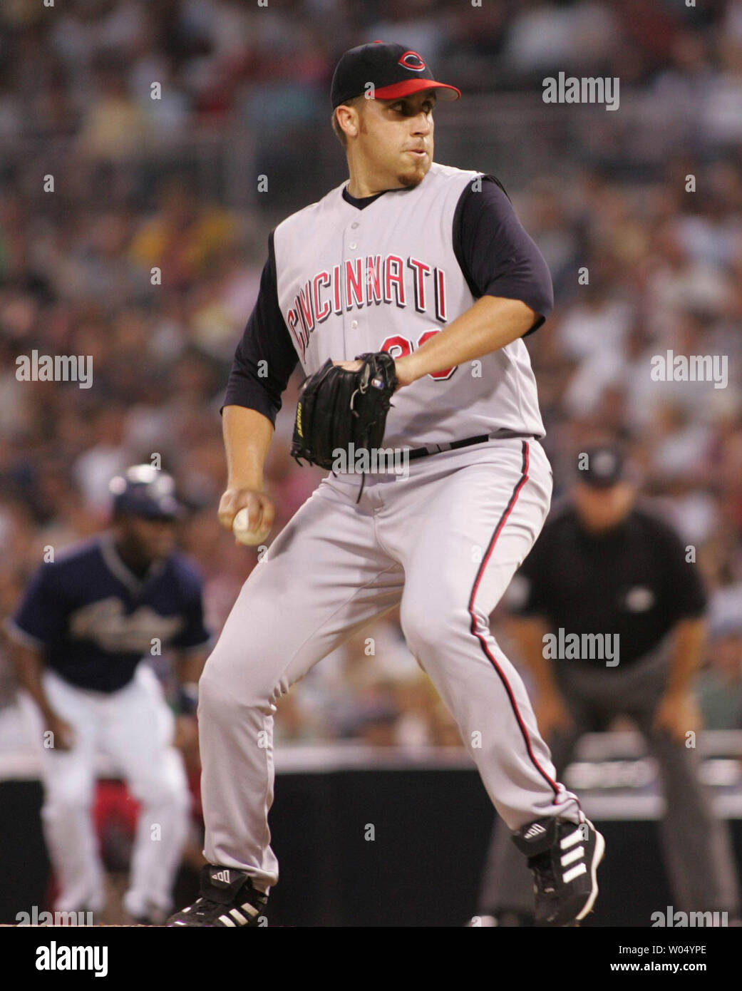 Six foot seven inch pitcher Aaron Harang throws against the Cincinnati Reds at Petco Park in San Diego CA, July 30, 2005. (UPI Photo/Roger Williams) Stock Photo