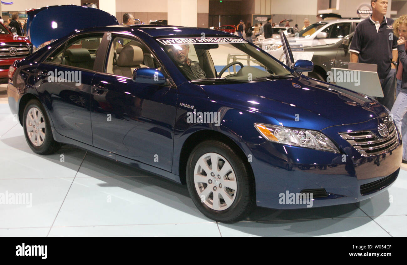 A Toyota Camry Hybrid is on display at the 2009 San Diego