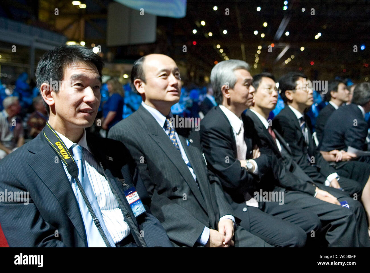 Japanese Global partners from Fuji, Kawasaki and Mitsubishi Heavy Industries attend Boeing's new 787 Dreamliner unveiling at its Everett, Washington plant on July 8, 2007. Over 15,000 Boeing employees, retired and present, family, friends and worldwide media attended the extravaganza as Boeing unveiled its first commercial plane since 1994. (UPI Photo/Jim Bryant) Stock Photo