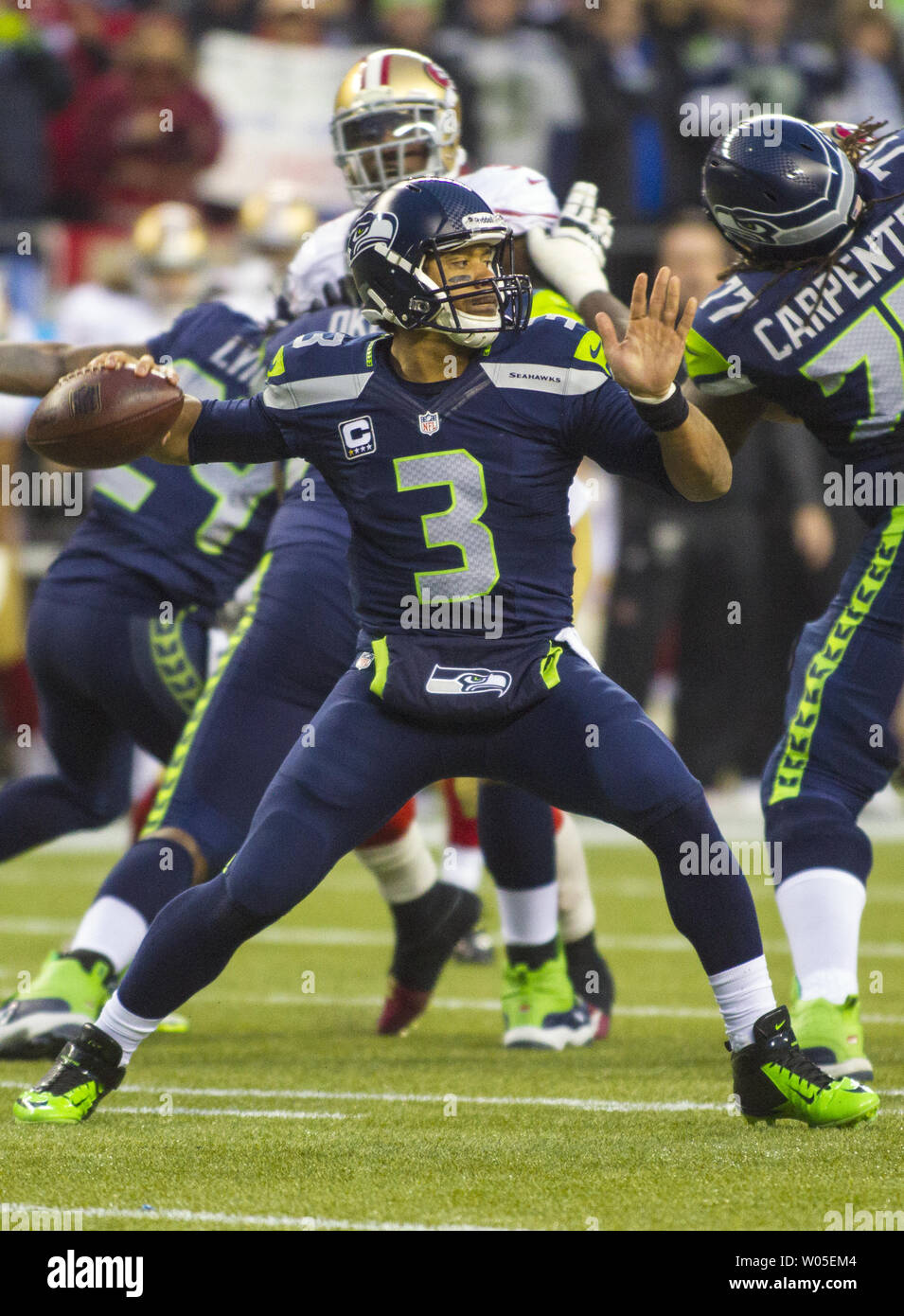 491755c4 Seattle Seahawks quarterback Russell Wilson (3) passes against the ...