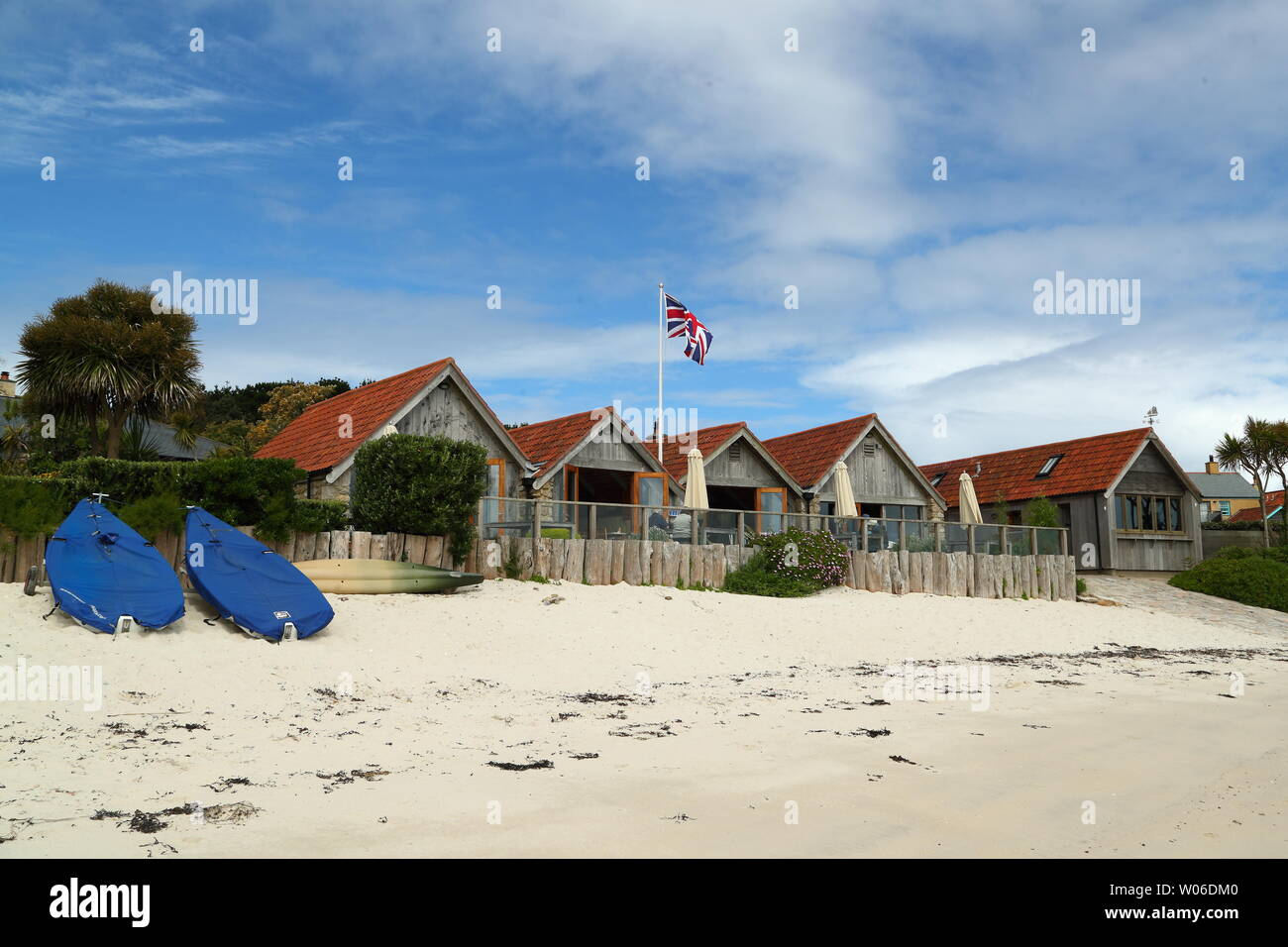 Sea Garden Cottages on Tresco, Isles of Scilly, Cornwall, UK Stock Photo