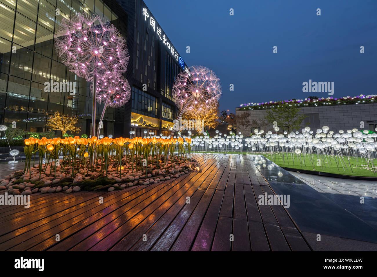 Henan Zhengzhou Kai Lin Center National Development Bank China Travel Bank Blues Moment Lighting Landscape Project Stock Photo