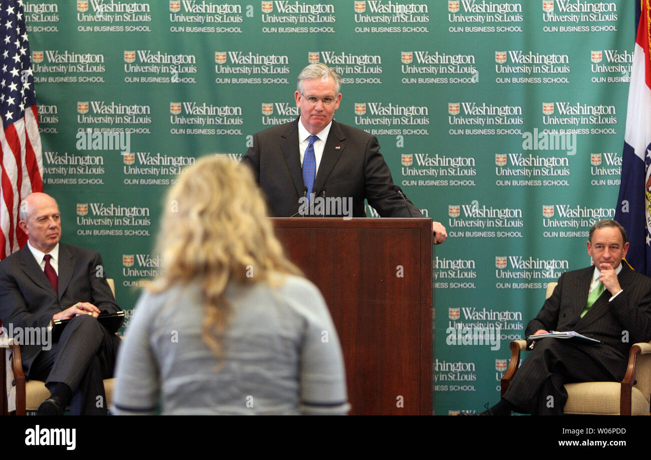 Missouri Governor Jay Nixon Listens To The Concerns Of A Business Student After Delivering Remarks On