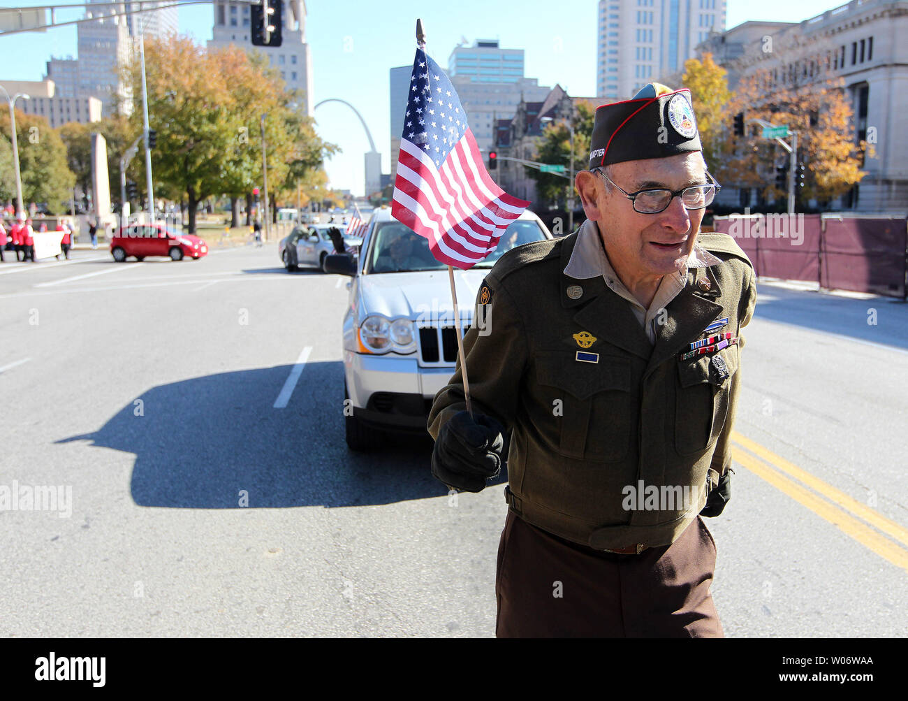 World War II Army veteran Vincent Freeman marches alone in the 27th Annual Saint Louis Regional Veterans' Day Observance Parade in St. Louis on November 6, 2010. UPI/Bill Greenblatt Stock Photo