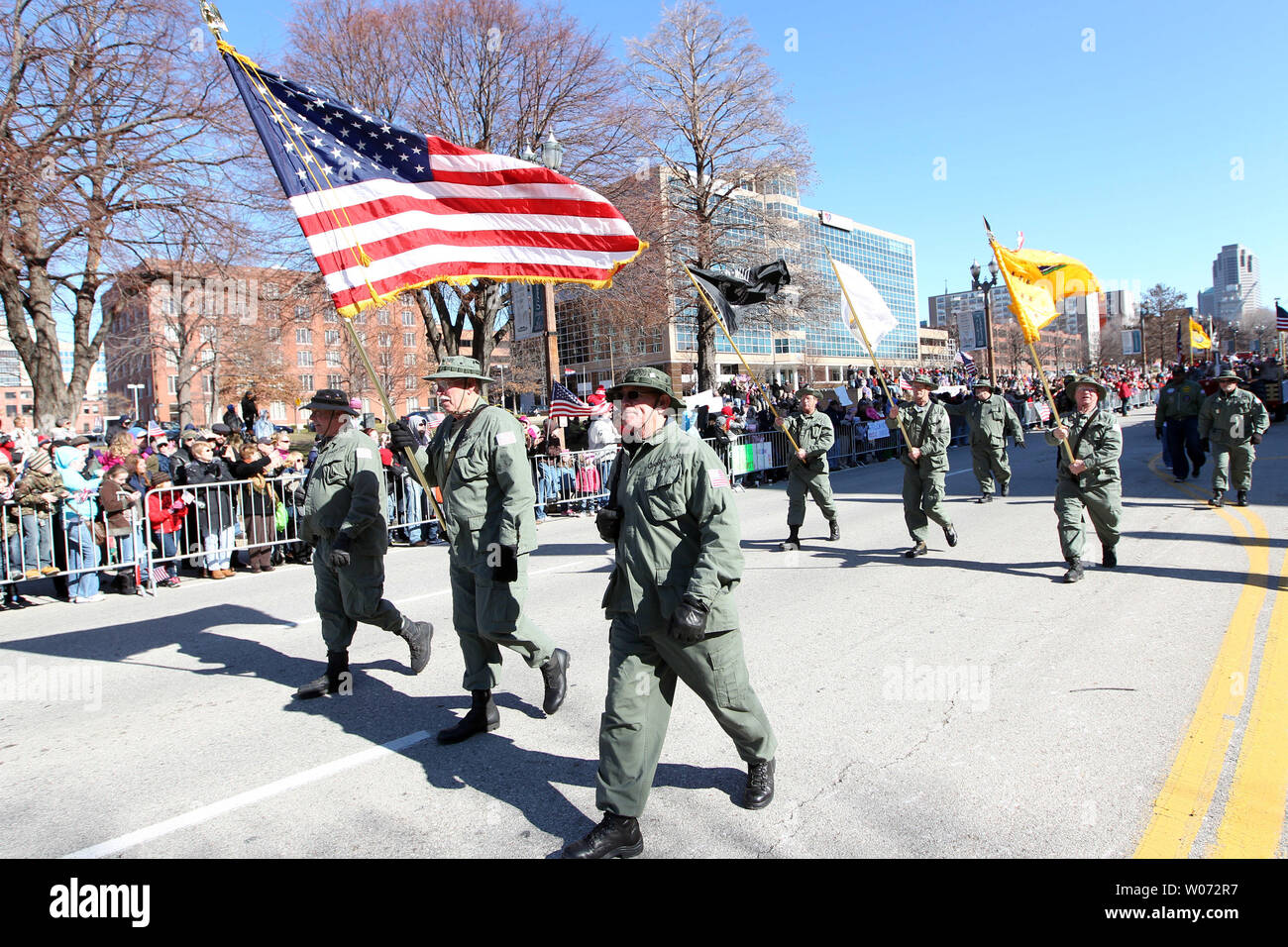 Vietnam veterans march in a parade in St. Louis on January 28, 2012. Thousands of people lined a parade route in downtown St. Louis for the nationÕs first parade to honor those who have served in Iraq and Afghanistan. UPI/Bill Greenblatt - Stock Image