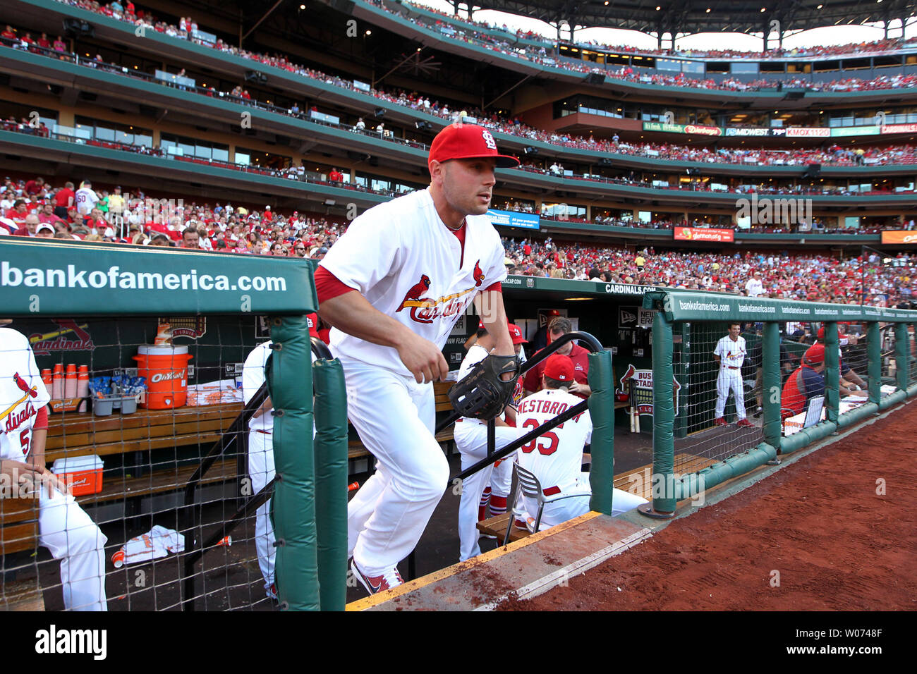 St. Louis Cardinals Matt Holliday takes to the field for a game against the Chicago White Sox at Busch Stadium in St. Louis on June 12, 2012. Holliday has missed the last two games due to leg soreness.  UPI/Bill Greenblatt - Stock Image