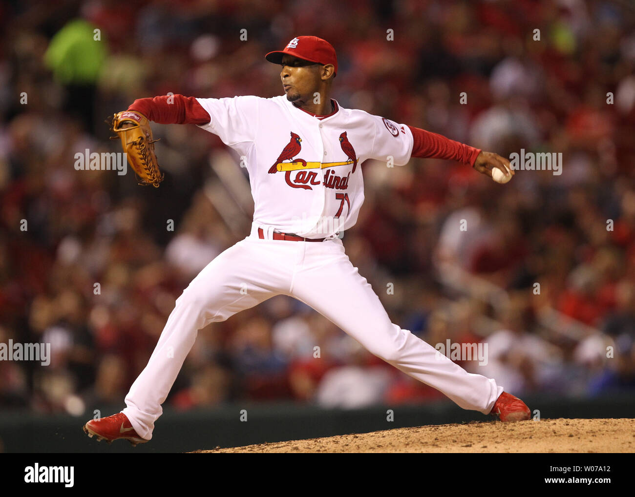 St. Louis Cardinals pitcher Sam Freeman works against the Los Angeles Dodgers in the seventh inning  at Busch Stadium in St. Louis on August 8, 2013. Los Angeles won the game 5-1.   UPI/Bill Greenblatt Stock Photo