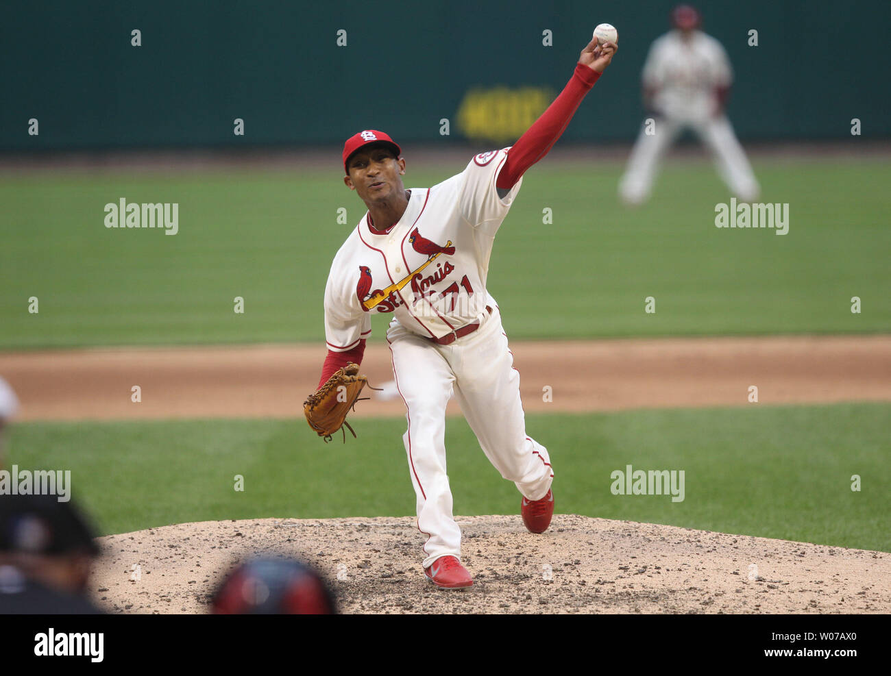 St. Louis Cardinals pitcher Sam Freeman delivers a pitch to the Chicago Cubs in the sixth inning at Busch Stadium in St. Louis on September 28, 2013. St. Louis defeated Chicago 6-2.  UPI/Bill Greenblatt Stock Photo