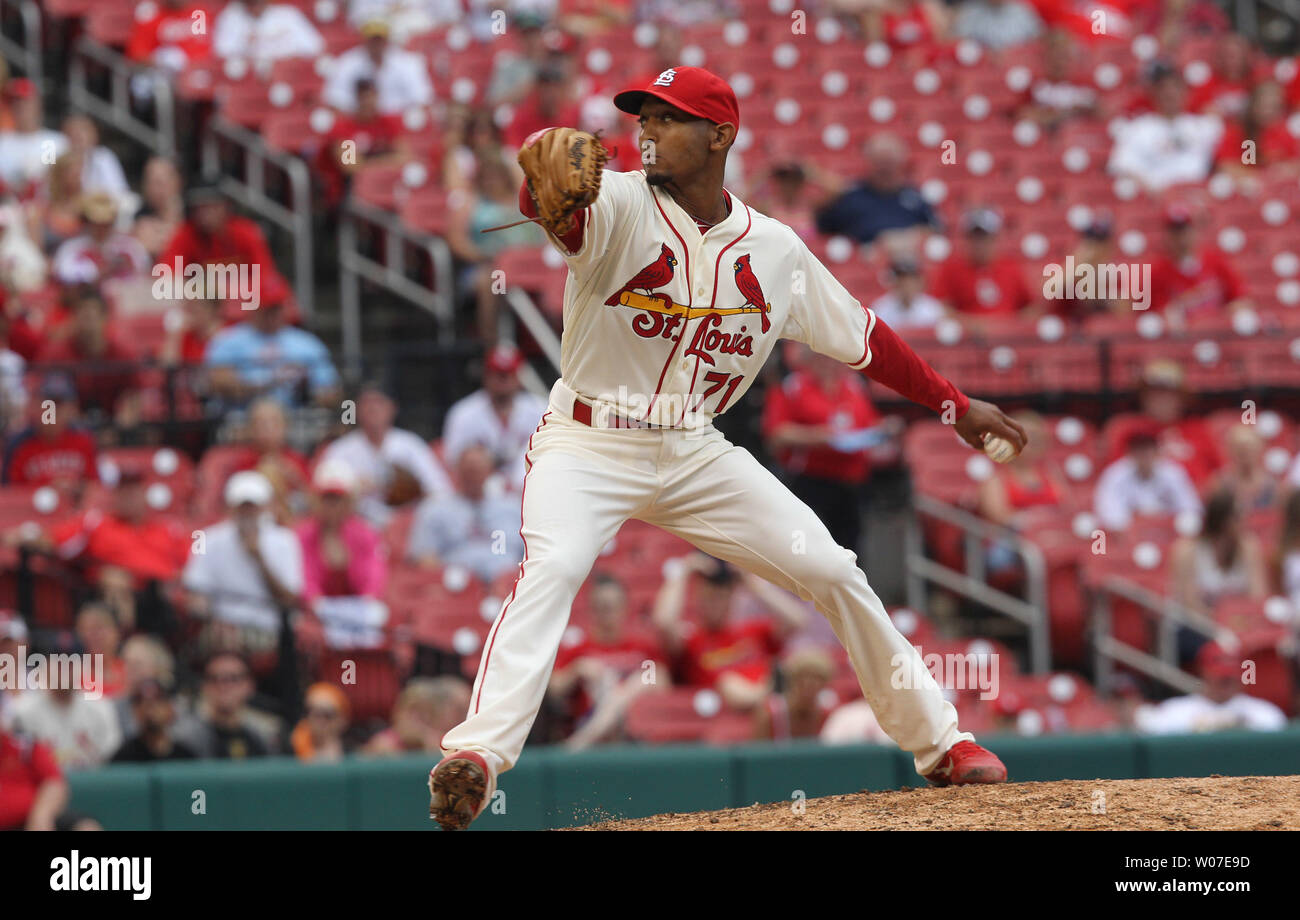 St. Louis Cardinals pitcher Sam Freeman delivers a pitch to the San Francisco Giants in the seventh inning at Busch Stadium in St. Louis on May 31, 2014. St. Louis defeated San Francisco 2-0. UPI/Bill Greenblatt Stock Photo