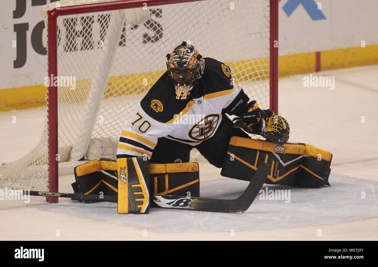 Boston Bruins Goaltender Malcolm Subban Protects The Goal As He