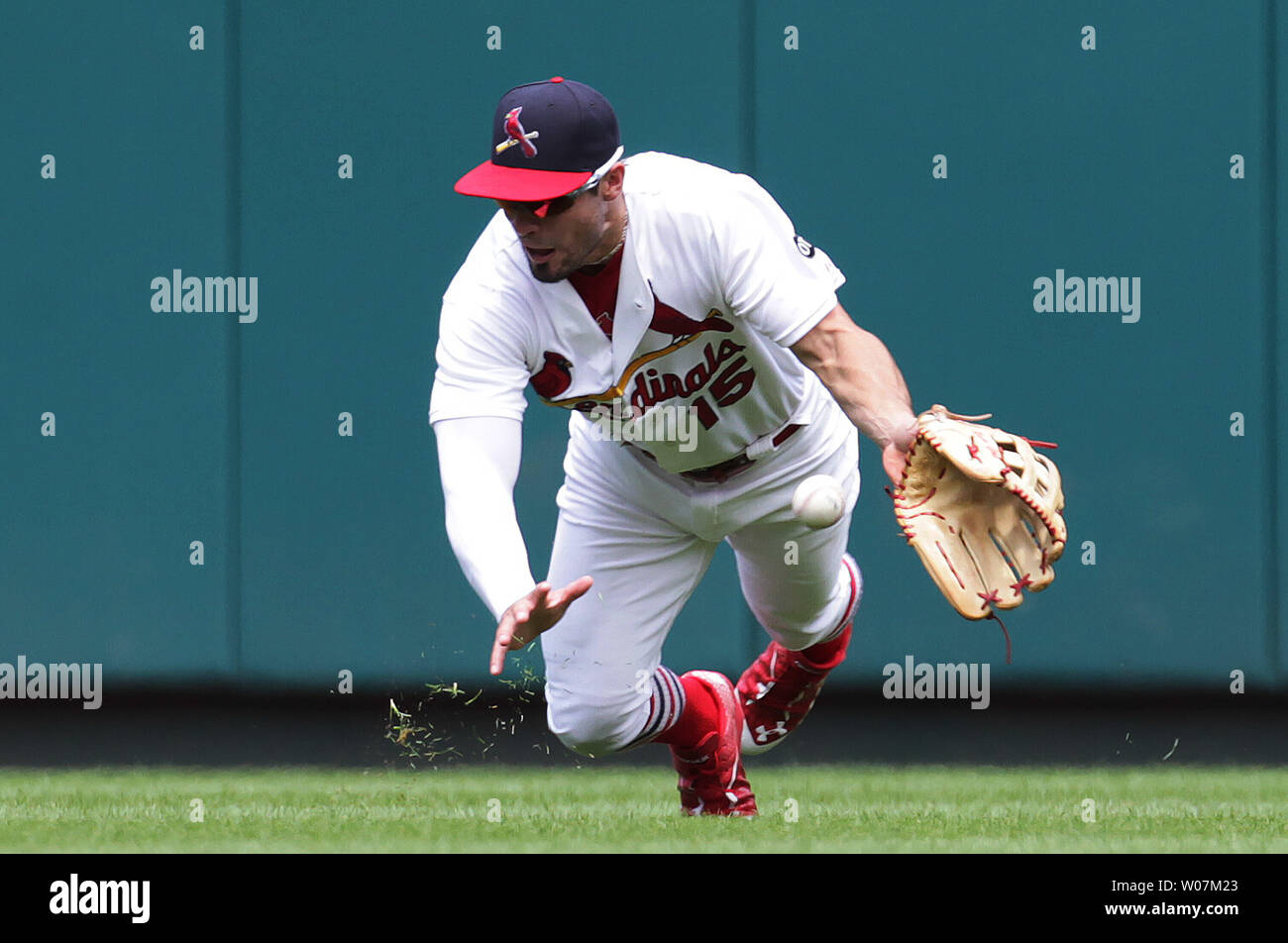 St. Louis Cardinals Randal Grichuk makes a diving attempt on a ball hit by Atlanta Braves Freddie Freeman in the third inning at Busch Stadium in St. Louis on July 26, 2015. The hit was good for a single.   Photo by Bill Greenblatt/UPI Stock Photo