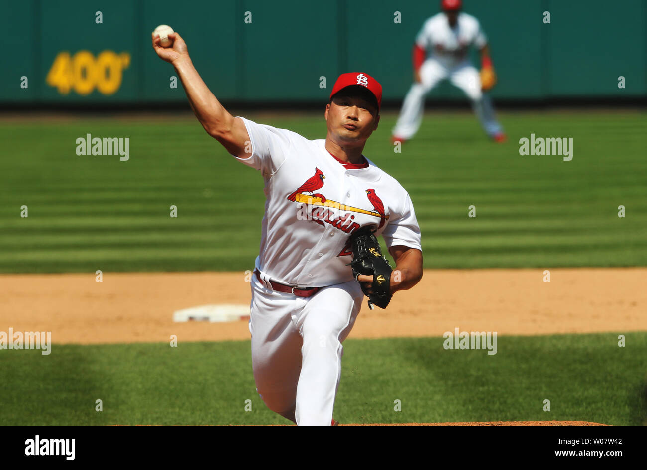 St. Louis Cardinals pitcher Seung Hwan Oh delivers a pitch to the San Diego Padres at Busch Stadium in St. Louis on July 20, 2016.    Photo by Bill Greenblatt/UPI Stock Photo