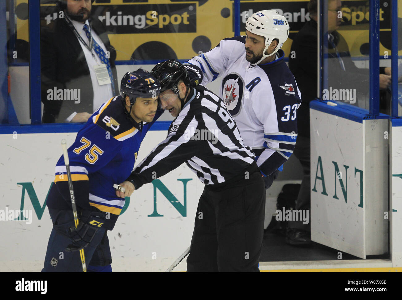 huge selection of b0977 0bb07 Linesman Mark Shewchyk works hard to seperate St. Louis ...