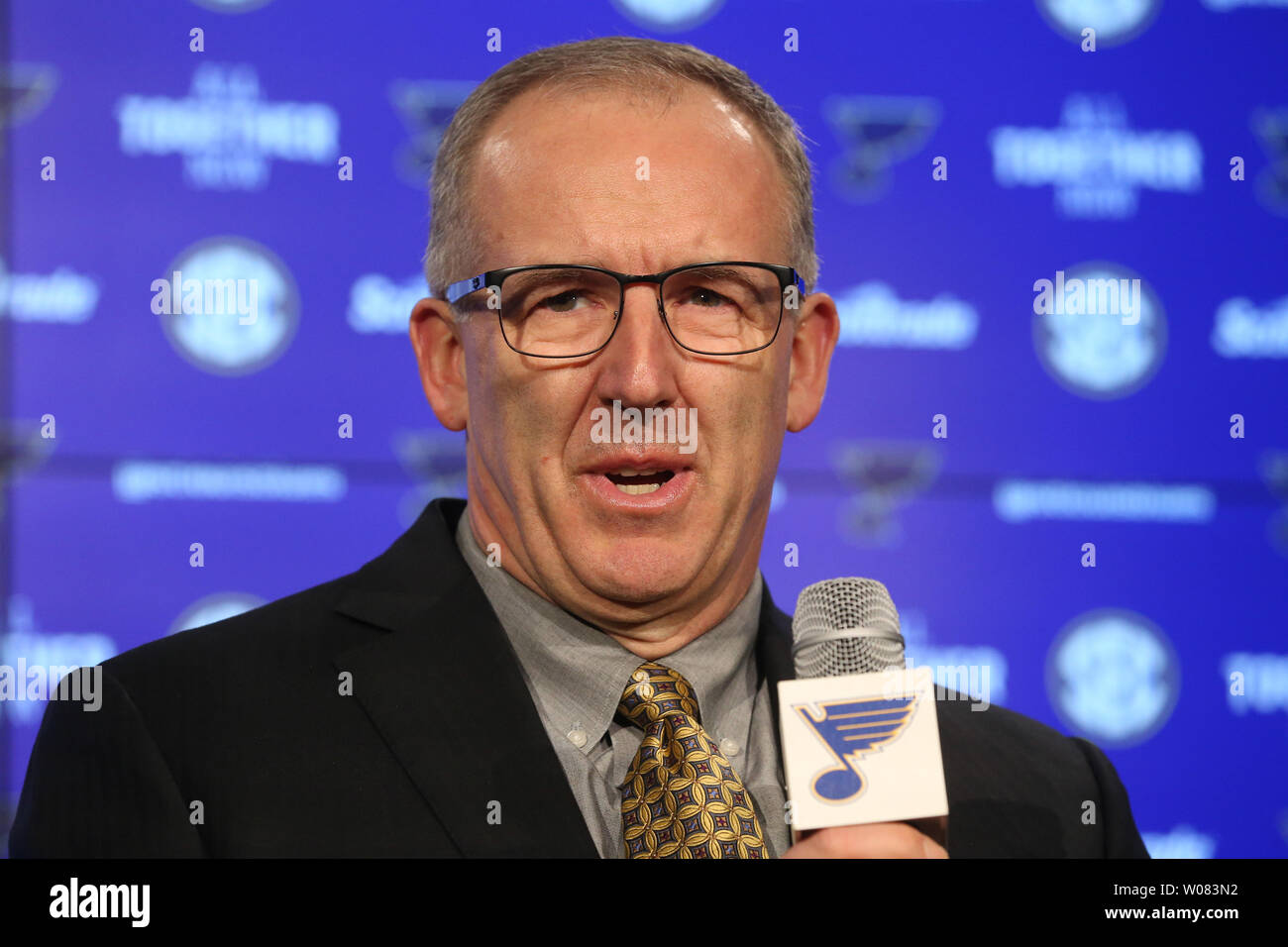 Southeastern Conference Commissioner Greg Sankey talks to reporters at the Scottrade Center in St. Louis on February 8, 2018. Sankey toured the Scottrade Center in advance of the SEC Basketball Tournament that will be held at the facility March 7-11.  Photo by Bill Greenblatt/UPI Stock Photo