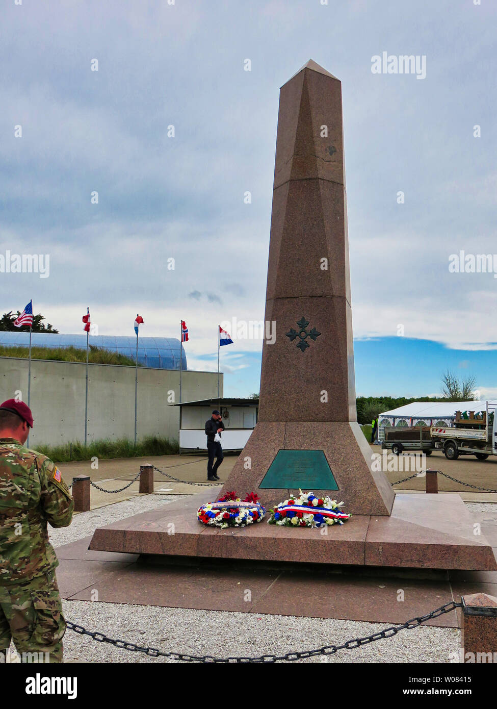 SAINTE MERE, NORMANDY, FRANCE - JUNE 06, 2019. D Day 75 birthday of french liberation by allied countries. Ceremony to remind what american, british, Stock Photo