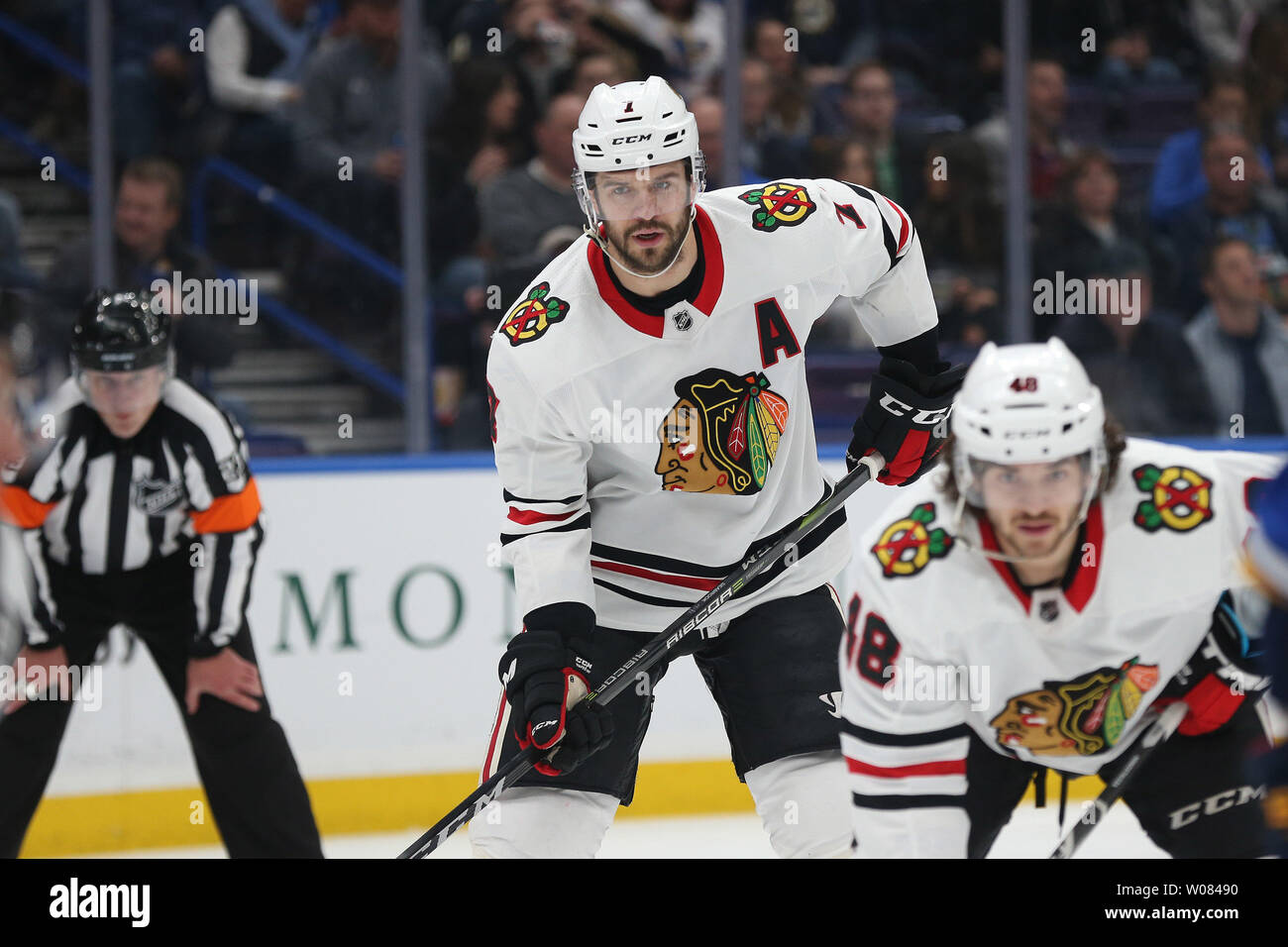 Chicago Blackhawks Brent Seabrook waits for the faceoff against the St. Louis Blues at the Scottrade Center in St. Louis on April 4, 2018. Photo by Bill Greenblatt/UPI - Stock Image