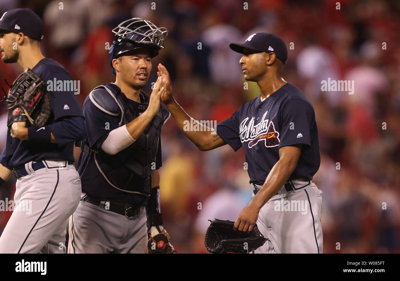 Atlanta Braves pitcher Sam Freeman and catcher Kurt Suzuki celebrate the third out and a 11-4 win over the St. Louis Cardinals at Busch Stadium in St. Louis on June 30, 2018.  Photo by Bill Greenblatt/UPI Stock Photo
