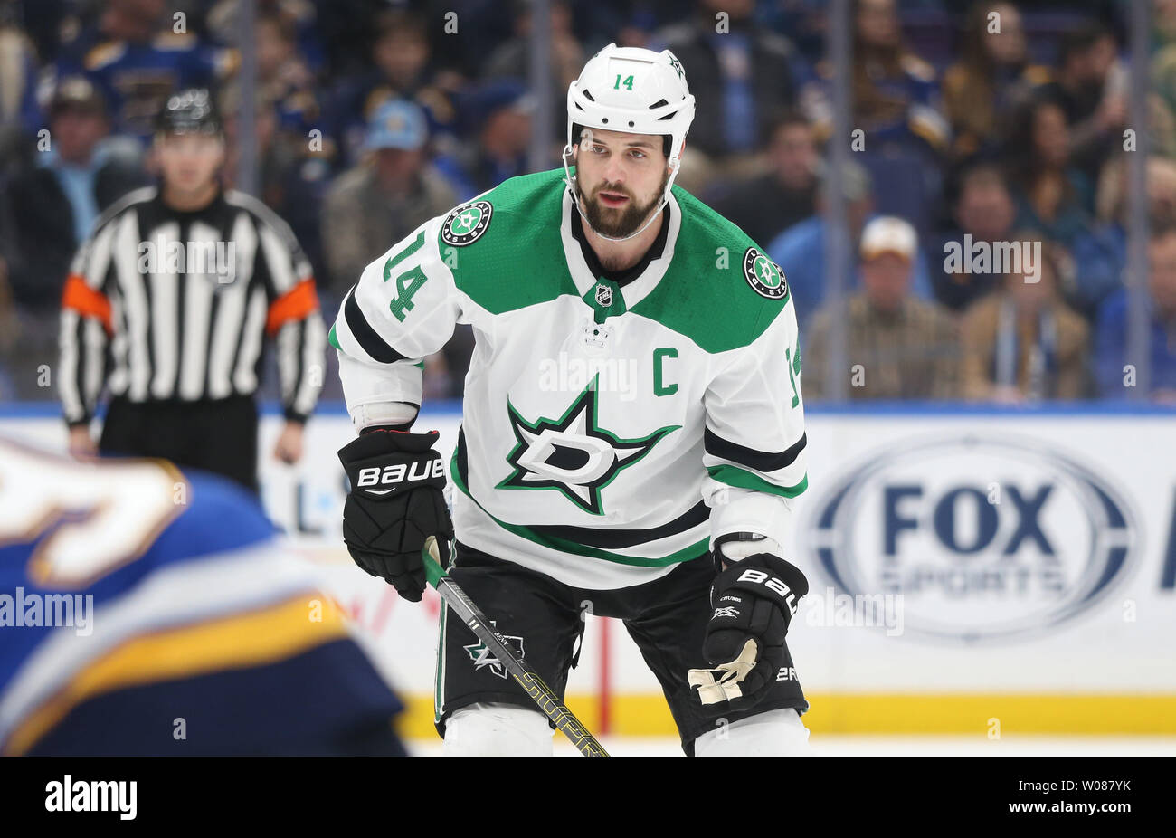 Dallas Stars Jamie Benn waits for the faceoff against the St. Louis in the first period at the Enterprise Center in St. Louis on January 8, 2019.  Photo by Bill Greenblatt/UPI - Stock Image